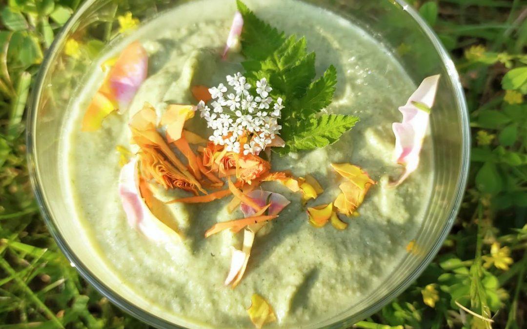 Hemels raw food dessert van rabarber en Roomse kervel